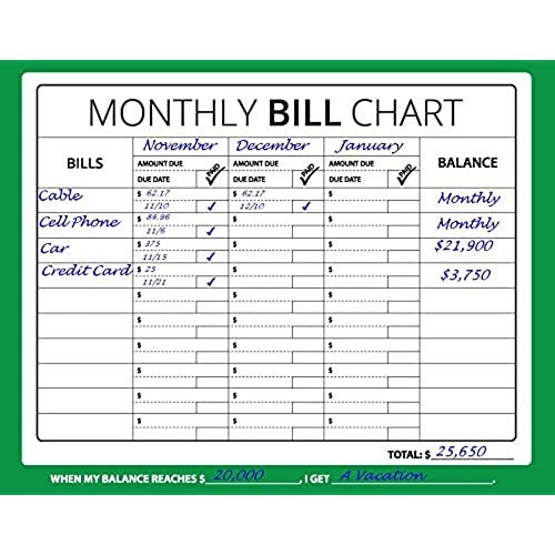 high quality 16x12 monthly bill chart budget expense planner