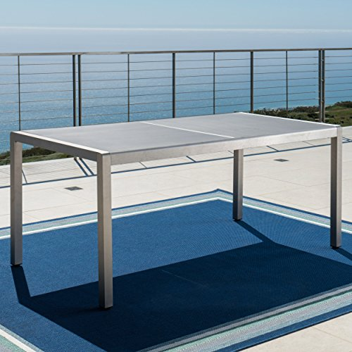 Coral Bay Outdoor Grey Aluminum Dining Table with Tempered Glass Top -