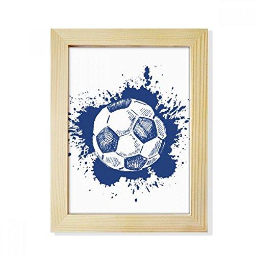 DIYthinker Ink Cartoon Football Blue Soccer Desktop Wooden Photo Frame Picture Art Painting 6x8 inch by DIYthinker