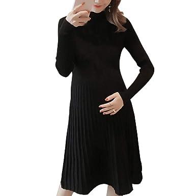 a07140f8d Zhhlinyuan Mujeres Elástico Vestido de Maternidad - Manga Larga Knitting  Embarazada Vestido de Enfermería para Otoño e Invierno  Amazon.es  Ropa y  ...