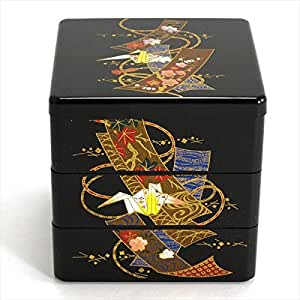 japanese lacquer stack lunch bento box three tier 3 5 longevity crane design. Black Bedroom Furniture Sets. Home Design Ideas
