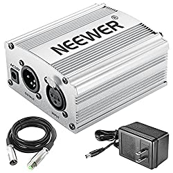 Neewer Phantom Power Kit Includes:1-channel 48v Phantom Power Supply With Adapter & Xlr Audio Cable For Any Condenser Microphone Music Recording Equipment (Silver)