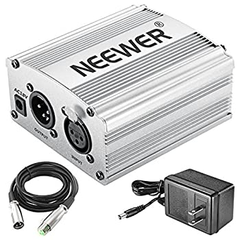 Neewer Phantom Power Kit Includes:1-channel 48v Phantom Power Supply With Adapter & Xlr Audio Cable For Any Condenser Microphone Music Recording Equipment (Silver) 0