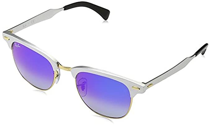 881be3fc2c Amazon.com  Ray-Ban Clubmaster Aluminum RB3507 Sunglasses Brushed Silver Blue  Flash Gradient 51mm   Cleaning Kit Bundle  Clothing