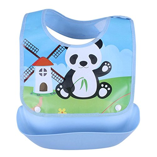 Vinjeely Newborn Baby Boys Girls Cute Towel Bib Detachable Waterproof Feeding Apron Silicon Towel Bib (P)