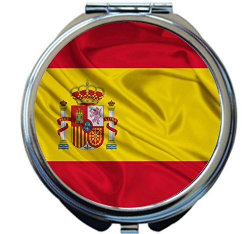 Rikki Knight Spain Flag Design Round Compact Mirror by Rikki Knight