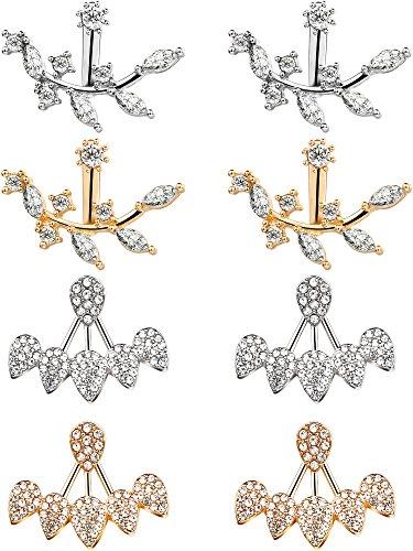 Mtlee 4 Pairs Clear Crystal Rhinestone Dangle Stud Earrings Simple Chic Stud Earrings Set (Leaf and Water (Crystal Set Drop Earrings)