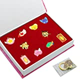Cardcaptor Sakura Cosplay Series Necklaces And Keychain Set With Elaborate Box, 10 Packs(Golden)