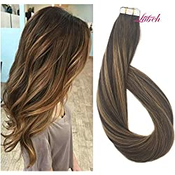 Labhair Straight Multi Color Chocolate Brown Mixed Honey Blonde Two Tone Ombre Remy Tape in Human Hair Extensions 20pcs/50g 16""
