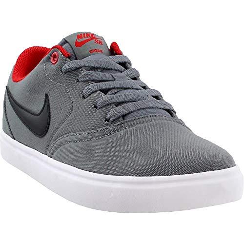 Wht Canvas Sneakers - Nike Mens SB Check Solar Canvas Grey Black University RED WHT Size 8.5