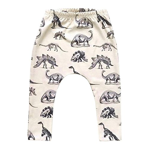 Toddler Baby Boy Dinosaurs Printing Elasticity Long Pants Lovely Harem Trousers  Beige  6 12 Month