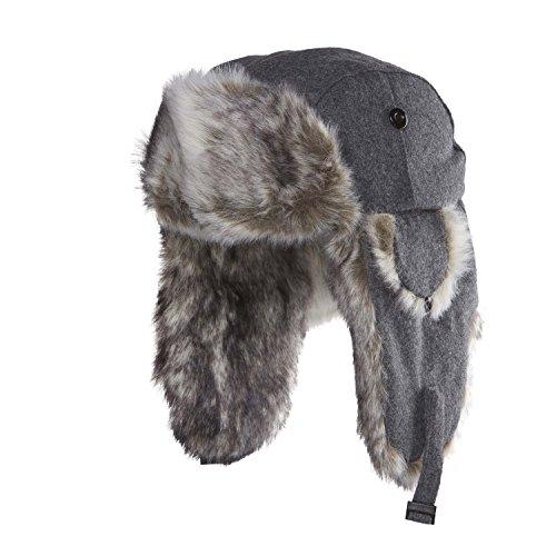 Chaos Men's Dylon Wool Blend Trapper Hat (Heather Grey, Unisex)