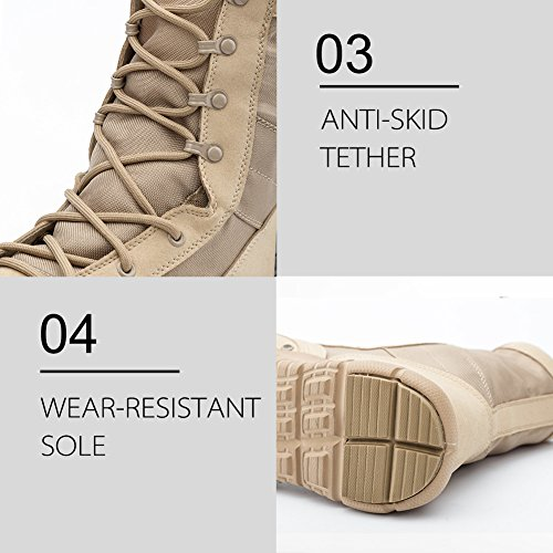 Pictures of IODSON US Mens' Ultra-Light Combat Boots Beige 9.5 M US 3