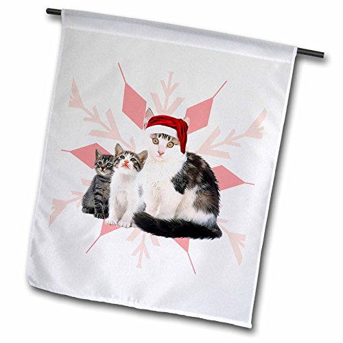 3dRose Mrs Claws Cat with Kittens in A Red Santa Hat Christmas Snowflake - Garden Flag, 12 by 18