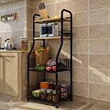 YUEQISONG Shelf Woody White Black Four Layers Incorporated Sort Out Living Room Bedroom, Black