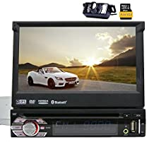 Free Reverse Camera Wince 6.0 Universal Head unit1 din Car Radio Stereo GPS sat nav DVD Player 7.0'' Dash support GPS/Navi/USB/SD/Subwoofer/Bluetooth/Steering Wheel Control Function/FM/AM Radio Receiver Stereo Navigation System+ Free 8GB SD Card
