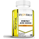 Enjoyergy Caffeine + L-Theanine | Energy and Mood Enhancement Formula | Clinically Effective Doses | Increased Happiness and Alertness | Improved Memory and Focus | No Crash or Jitters (120 Capsules)