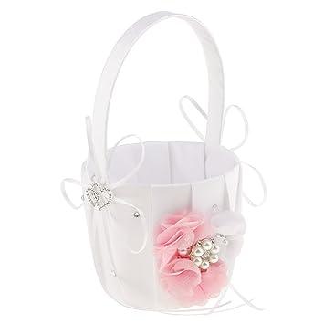 1d9bd5fd2481a4 Non-brand Weiße Strass Blumen Hochzeit Blumenmädchen Blumenkorb Blumenkinder  Körbchen - Rosa