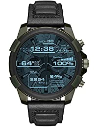 On Men's Full Guard Stainless Steel IP and Leather Smartwatch, Color: Olive IP, Black DZT2003