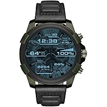 Diesel On Men's Full Guard Stainless Steel IP and Leather Smartwatch, Color: Olive IP, Black DZT2003