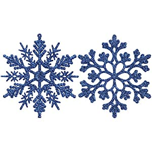 Sea Team Plastic Christmas Glitter Snowflake Ornaments Christmas Tree Decorations, 4-inch, Set of 36, Blue