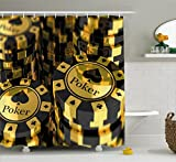 Ambesonne Poker Tournament Decorations Shower Curtain by, Gold and Black Poker Chips Gambling Club Currency Stack Wager, Fabric Bathroom Decor Set with Hooks, 70 Inches, Gold Black