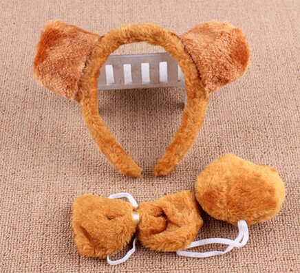 #9 Halloween Easter Day Party Show Festival Decoration Prop Decorative COS Ears Headband Animation Dress Tail Stuffed Suit Tie (brown bear)