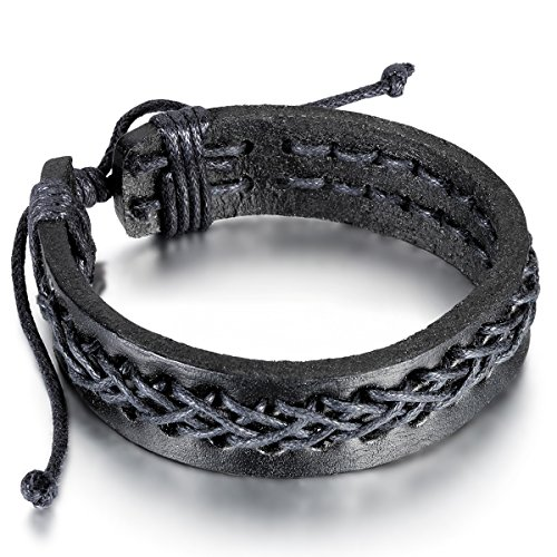 Flongo Men's Vintage Braided Tribal Infinity Sign Black Leather Strap Surfer Cuff Bracelet, Fit 8-10 inch Wrist
