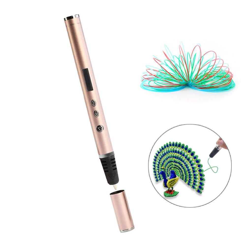 Goglor Penna di Stampa 3D Vieni con 3Pcs 3m Filamento di PLA di Colore Diverso Penna di Disegno Intelligente 3D Schermo LCD per Bambini Adulti