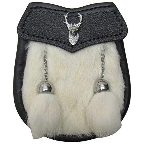 (AAR Brand New Boy Fur Sporran with Stag Head Badge 2 Tassels (White Fur))
