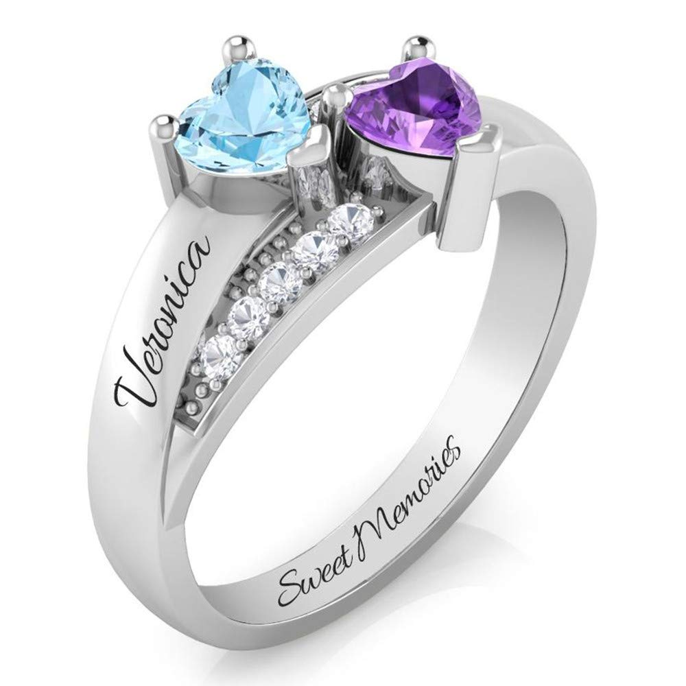 Personalized Promise Rings for Her Mother Rings with 2 Simulated Birthstones Custom Couples Name Ring for Women