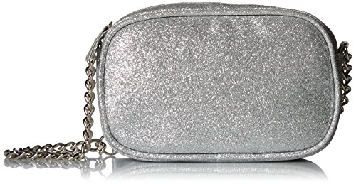 Jessica McClintock Audrey on the Go Glitter Crossbody Clutch with Portable Cell Phone Charger, Silver