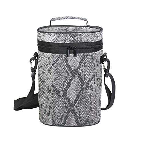 - Insulated Wine Carrier Snakeskin Grey Bottle Travel Padded Wine Carry Cooler Tote Bag with Handle and Adjustable Shoulder Strap