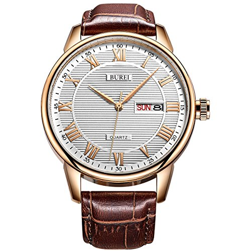 BUREI Men's Quartz Wrist Watch Big Roman Numerals with Date Day Calendar Texture Display and Leather Strap