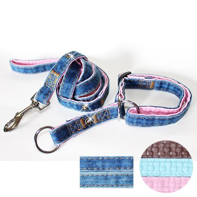 """Fab Denim"" Soft Leather Padded Slip-on Dog Collar & Leash Set - Small, Pink"