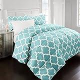 Sleep Restoration 2200 Series LuxuryGoose Down Alternative Quatrefoil Comforter Set - Premium Hypoallergenic All Season Duvet - Full/Queen - Aqua