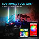 Xprite 2 X 5ft 1.5M LED Flag Pole Safety RGB Whip Lights W/ Bluetooth Control For Sand Dune Buggy UTV ATV 4X4 Side By Sides Trophy Truck Jeep