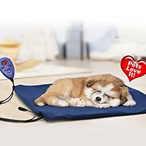 Pet Heating Bed ONEVER Electric Heating Pad for Dogs Cats Warming Dog Beds Pet Mat with Chew Resistant Cord Soft Removable Cover