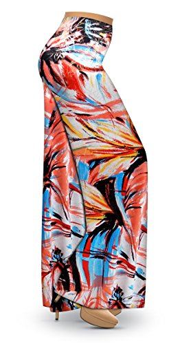 Metallic Floral Abstract Slinky Print Wide Leg Plus Size Palazzo Pants 3X