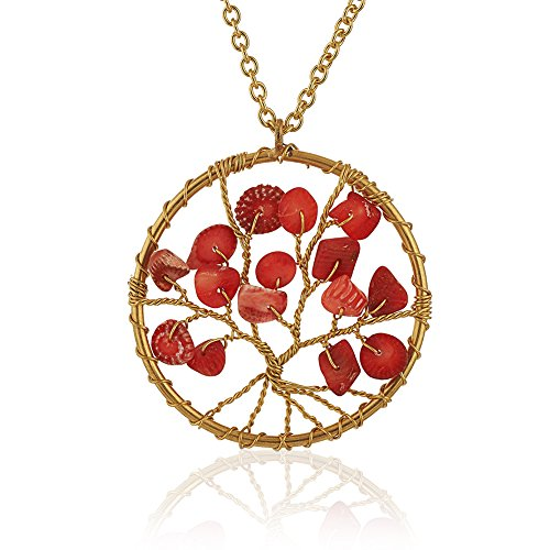 Chuvora Gold-Plated Brass Handmade Eternal Tree of Life Red Coral Bead Branch Pendant Necklace, 17-19 inches