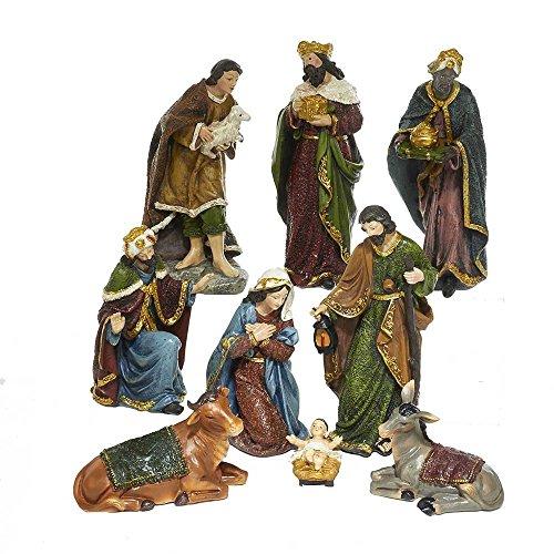 Kurt Adler 1.75-Inch-8-Inch Polyester Nativity Set of 9 Pieces, 9