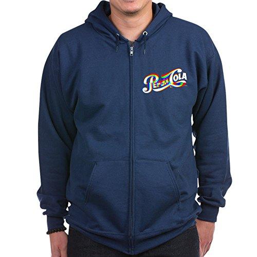 (CafePress - Pepsi Logo Glitch - Zip Hoodie, Classic Hooded Sweatshirt with Metal Zipper Navy)