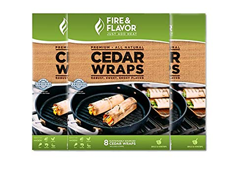Cedar Paper Cooking - Fire & Flavor Natural Red Cedar Grilling Paper Wraps w Cotton String Ties, 8.5 X 6.25 Inch, 8 Count, Pack of 3