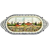 CERAMICHE D'ARTE PARRINI - Italian Ceramic Serving Appetizer Tray Plate Hand Painted Decorative Landscape Sunflowers Made in ITALY Tuscan