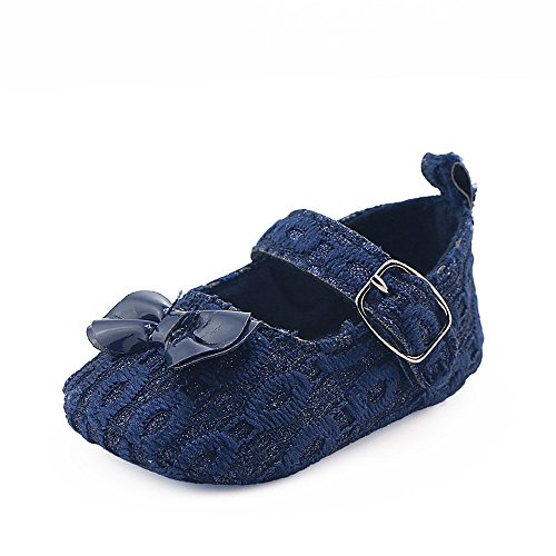 Coohole Newborn Infant Baby Girls Hook & Loop Buckle Strap Bowknot Crib Shoes Soft Sole Anti-slip Sneakers (12, Blue 1) Blue 1