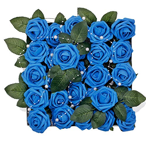 Meiliy 60pcs Artificial Flowers Royal Blue Roses Real Looking Foam Roses Bulk w/Stem for DIY Wedding Bouquets Corsages Centerpieces Arrangements Baby Shower Cake Flower Decorations