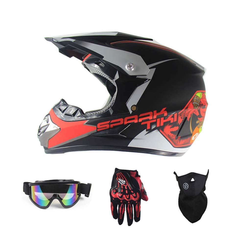 MRXUE Off-Road Anti-Collision Motorbike Helmet, Full Face Helmet Off-Road Anti-Collision Helmet Kit Adult Highway Helmet Give Goggles Bicycle Gloves Dust Mask Red,S(53~54Cm)