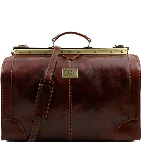 Tuscany Leather Madrid Gladstone Leather Bag - Large size Brown by Tuscany Leather