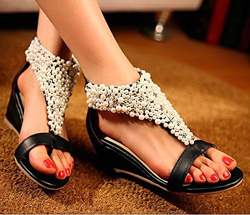 Strappy Ankle Getmorebeauty Across Pearls Sandals Black Zipped Women's Toes Peep vx6fqOxw4