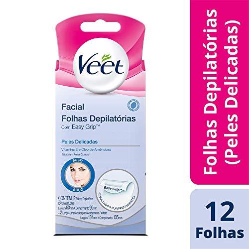 Cera Fria Facial Veet Peles Delicadas - 12 Folhas, Veet, 12 folhas